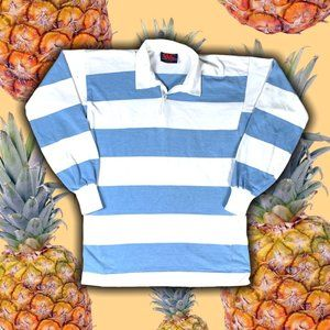 80s Baby Blue Striped Canterbury Rugby Polo